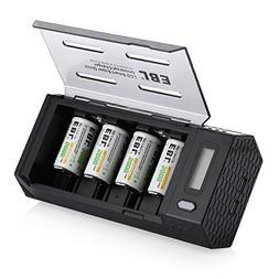 EBL C Size Rechargeable Batteries  with Upgraded AA AAA C D