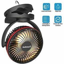 Camping Lantern Clip On Fan, USB Rechargeable 5000mAh Batter