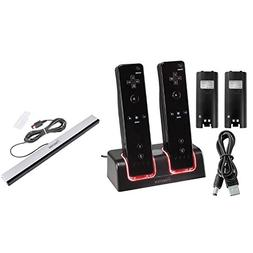 eForCity Black Remote Control Dual Charging Station + Wired