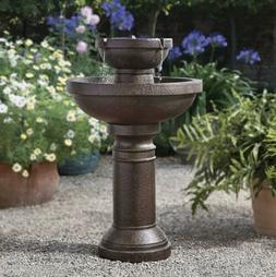 Convenient Outdoor Garden CORDLESS  Tiered Water Fountain