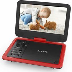 "COOAU 12"" Portable DVD Player 10"" Swivel Screen, 5 Hour Rech"