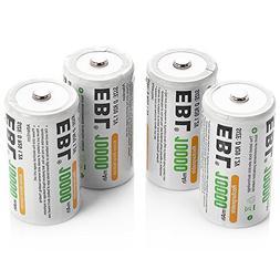 EBL D Size Battery D Cell 10000mAh Huge Capacity Ni-MH Recha