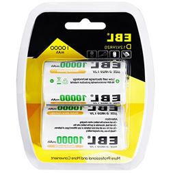 EBL D Cells Rechargeable Batteries Ni-MH 10,000mAh with Reta