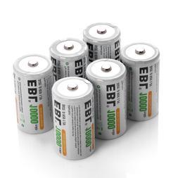 EBL 6 Pack 10000mAh D Rechargeable Batteries 6 D Cell
