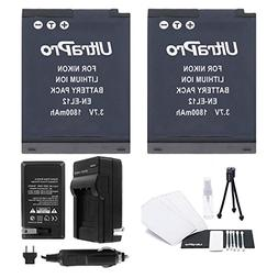 EN-EL12 Battery 2-Pack Bundle with Rapid Travel Charger and