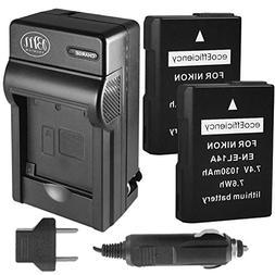 ecoEfficiency 2-Pack of EN-EL14, EN-EL14A Batteries + Batter