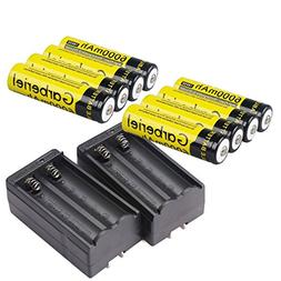 Garberiel 8 PC 18650 Battery 6000 mAh 3.7v Performance Li-io