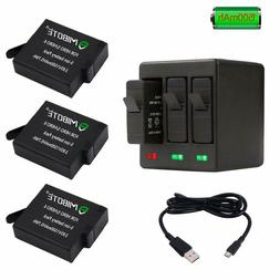 GoPro Hero 7 Rechargeable Battery 3 Pack x 1500mAh & Triple