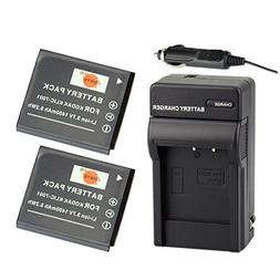 DSTE 2x KLIC-7001 Battery + DC52 Travel and Car Charger Adap