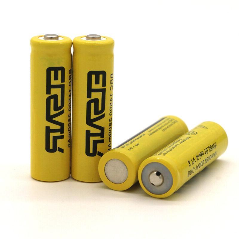 4pcs 2800mAh 14500 Battery Rechargeable Li-ion Lithium 3.7V