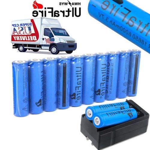 10x 18650 battery 6000mah 3 7v li