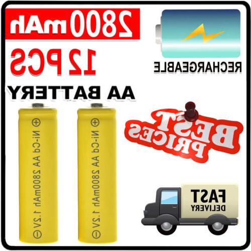 12PCS 1.2V AA 2800mAh Battery Bulk Nickel Cadmium Rechargeab