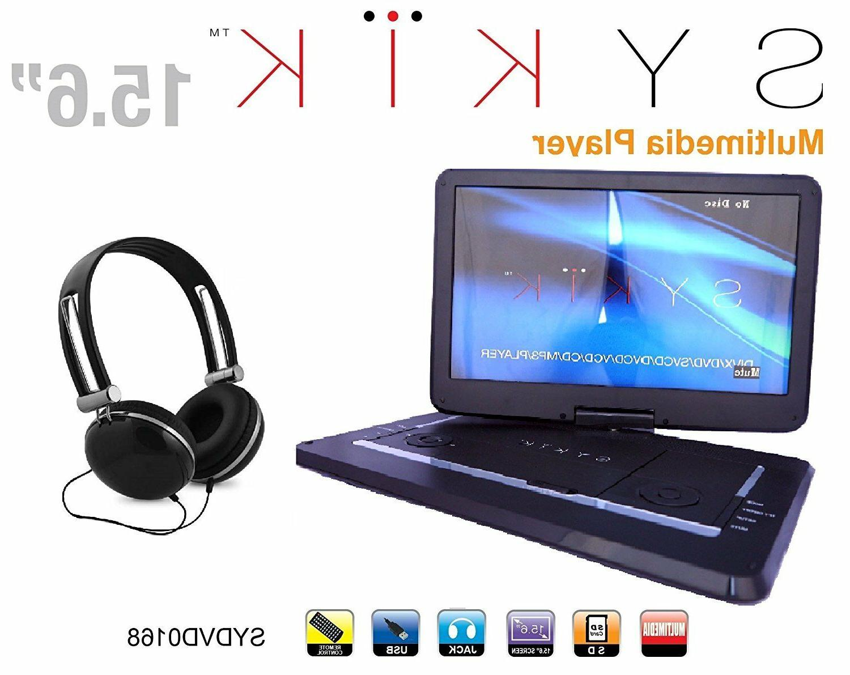 15'' Portable CD/DVD Player, HD Widescreen Display Built