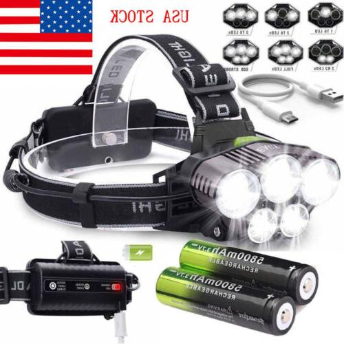 160000lm 5x t6 led headlamp rechargeable headlight