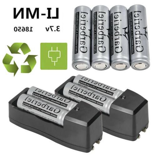 8pc 3.7V Li-Ion Flat Head Flat Top Rechargeable Battery for