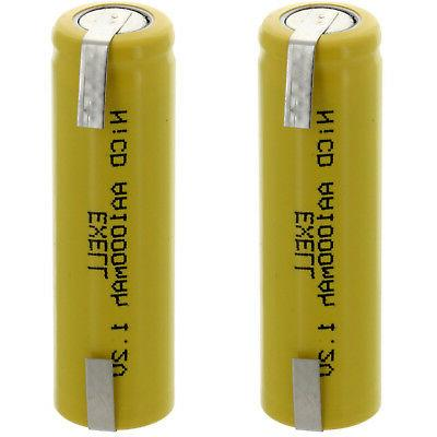 Exell AA 1.2V 1000mAh NiCD Rechargeable Batteries with Tabs