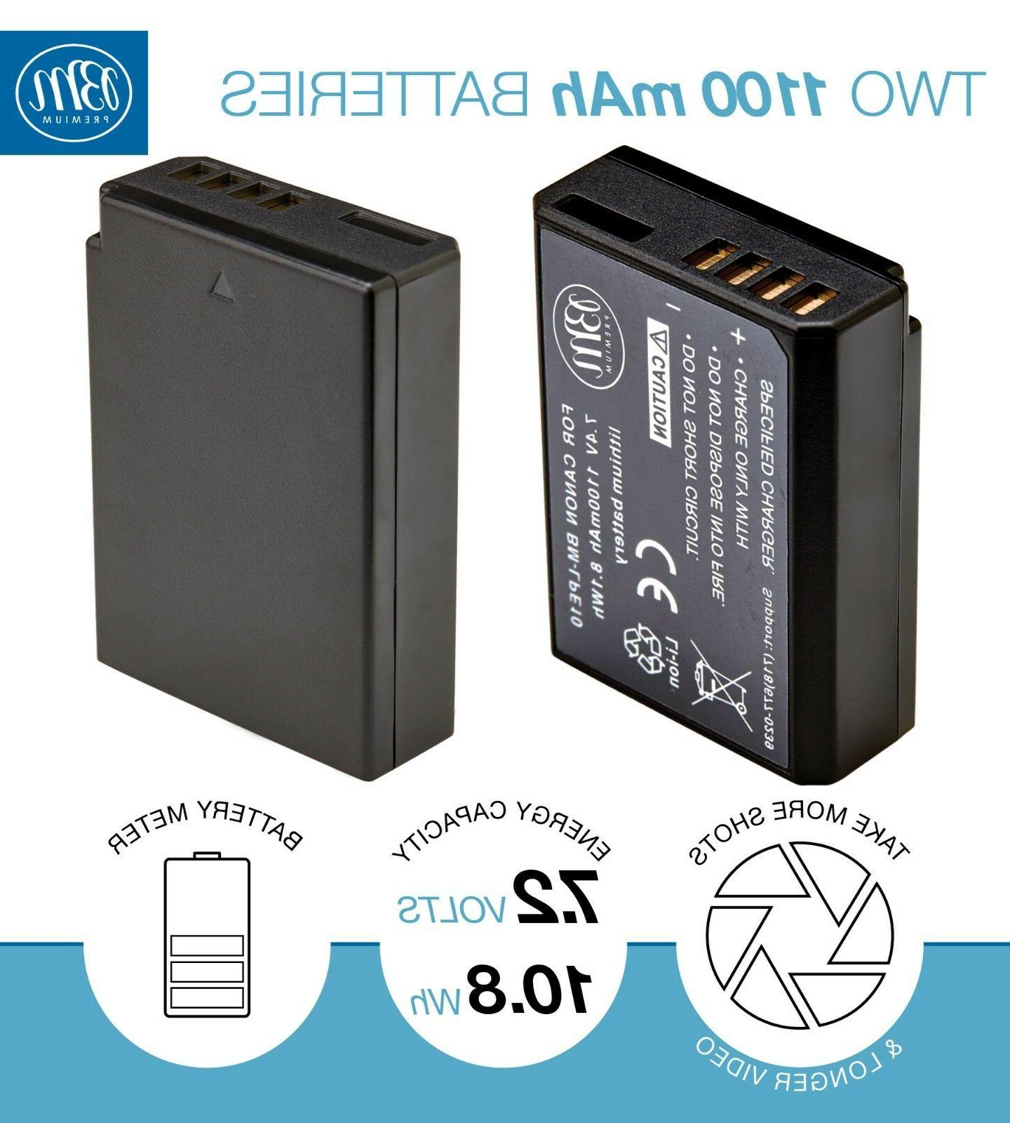2 Battery + for Rebel T3, T6, T7, 1200D,