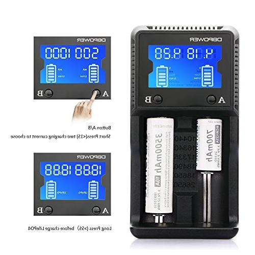 2-slot Battery LCD Speedy Charging for Rechargeable Batteries AA Li-ion IMR 26650 18490 17335 16340