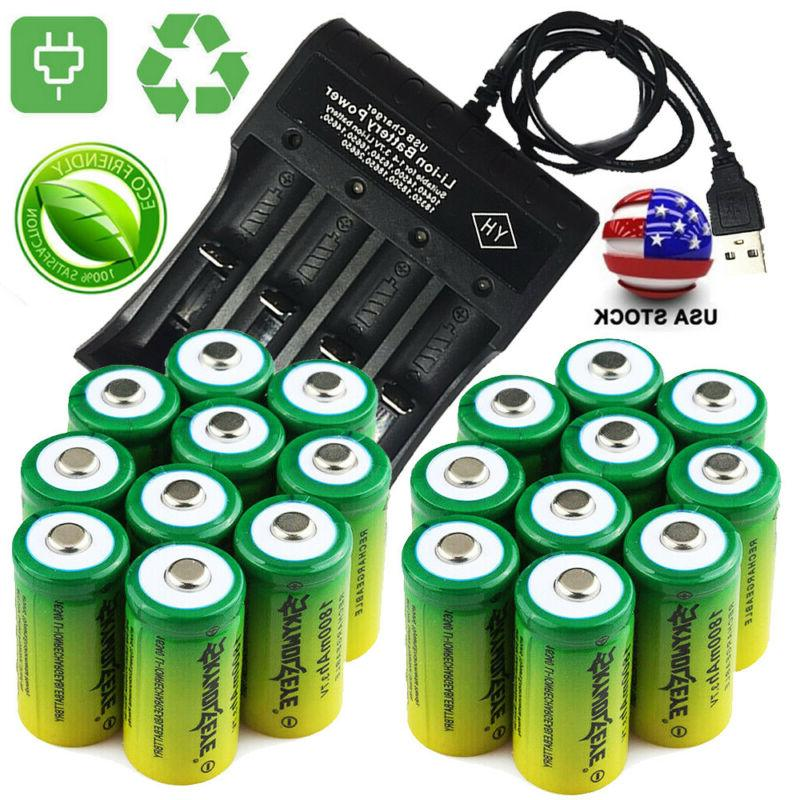 20 rechargeable 16340 batteries 3 7v cr123a