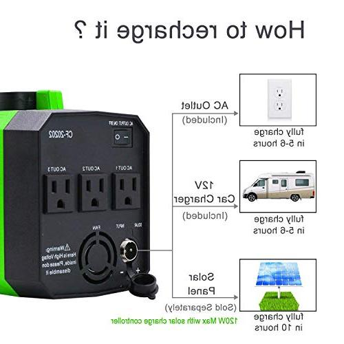 200Wh Generator CPAP Battery Inverter with 110V/250W AC 12V, USB for Camping Emergency