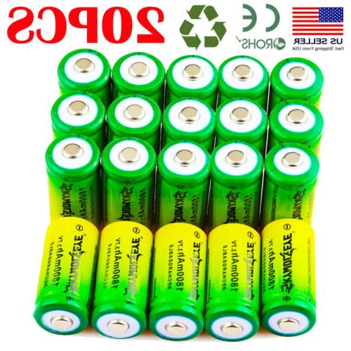 20pcs 1800mah 16340 3 7v rechargeable batteries
