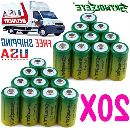 20x 1800mAh 3.7V CR123A Li-ion Rechargeable Batteries Lithiu