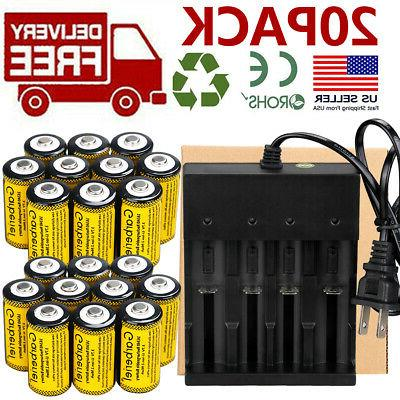 20x cr123a 3 7v rechargeable batteries