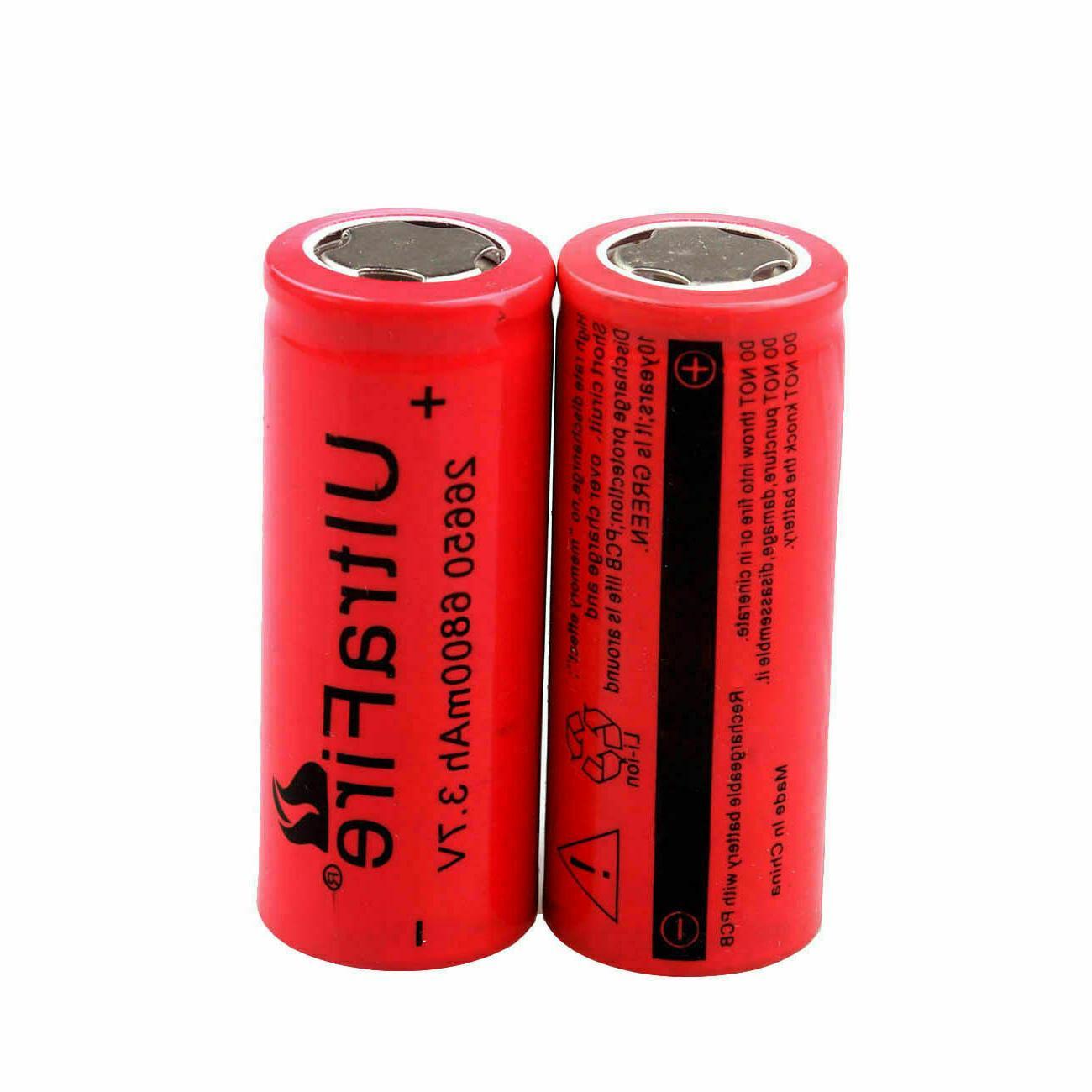 26650 6800mAh Flat Batteries Torch Lot