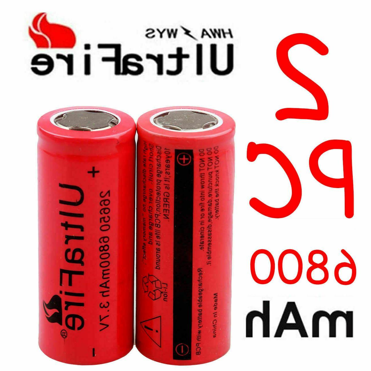 26650 Battery 6800mAh Flat Top Li-ion Batteries