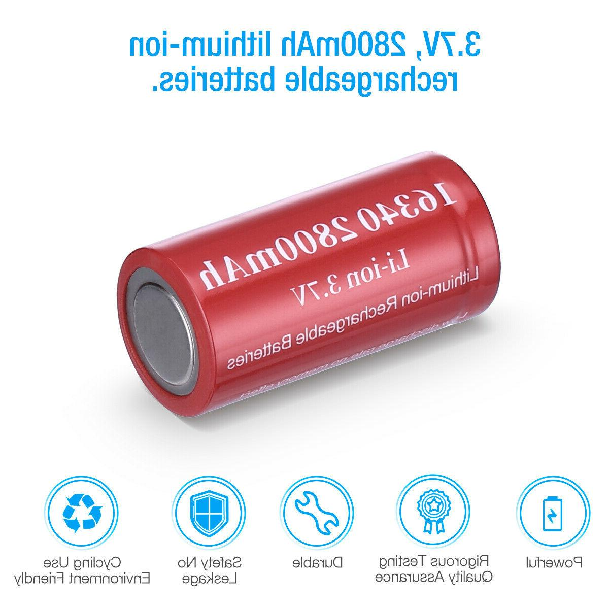 2800mAh 16340 Rechargeable Smart Charger