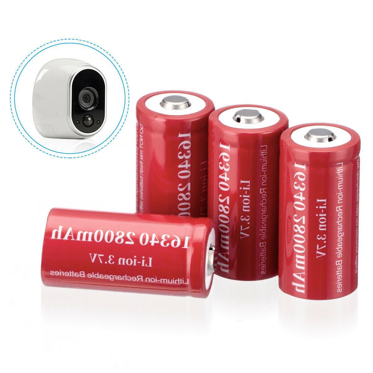 2800mAh Batteries CR123A Rechargeable Li-ion / Smart Charger Lot