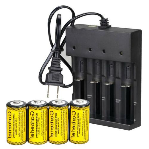 2800mAh CR123A Rechargeable Battery Charger Lot