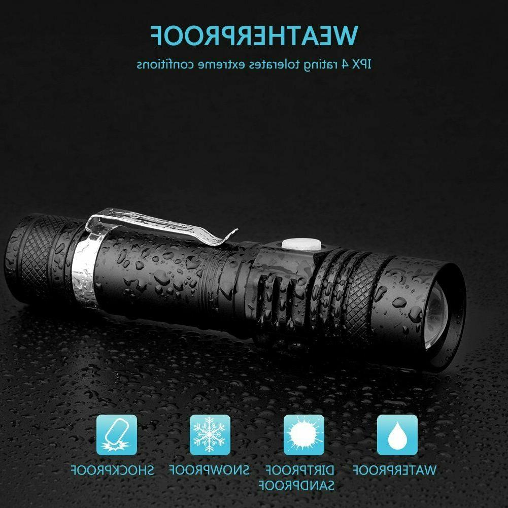 2PCS Flashlight USB rechargeable Torch