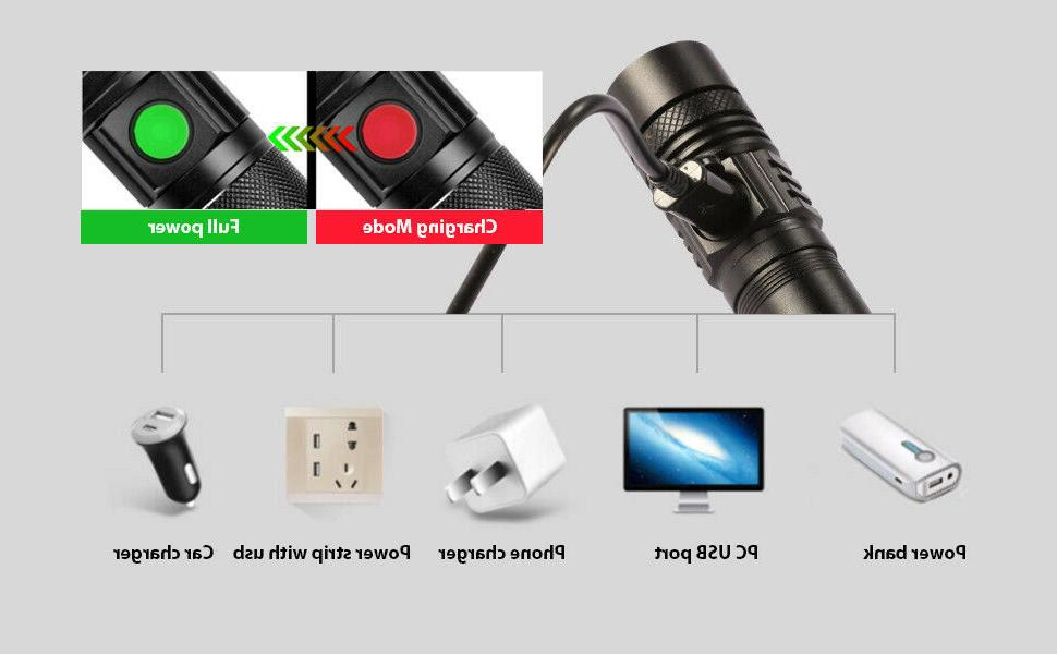 2PCS Flashlight USB rechargeable Portable Torch