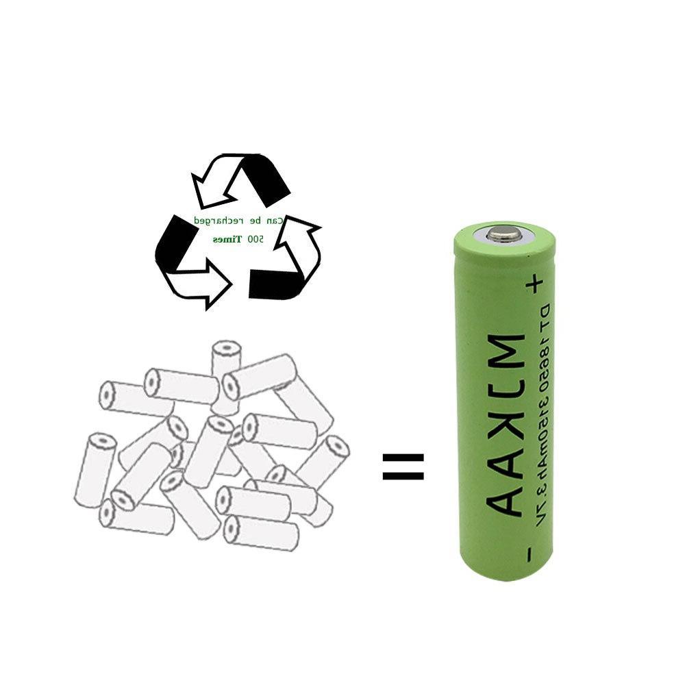 2Pcs Lithium <font><b>Rechargeable</b></font> <font><b>Batteries</b></font> Flashlight Pen