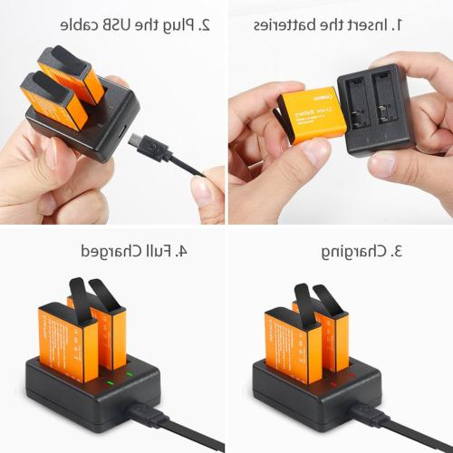 2X1350mah Action Camera Battery Rechargeable