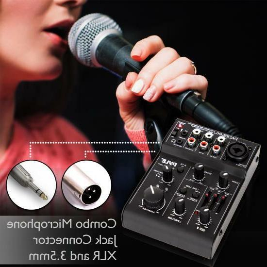 Pyle 3-Channel Mixer Recording Interface, Rechargeable Battery