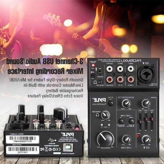 Pyle 3-Channel USB Audio/Sound Mixer Interface, Battery