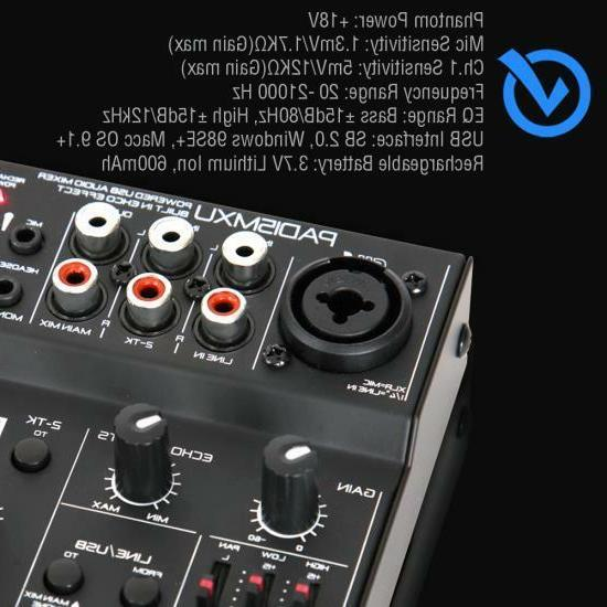 Pyle 3-Channel USB Mixer Recording Interface, Battery