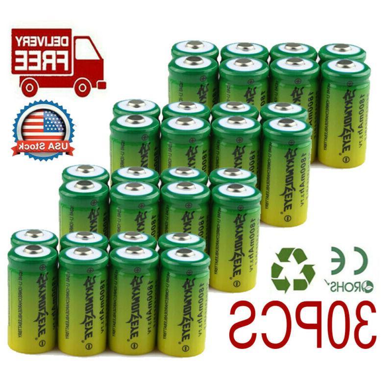30x rechargeable battery cr123a 3 7v li