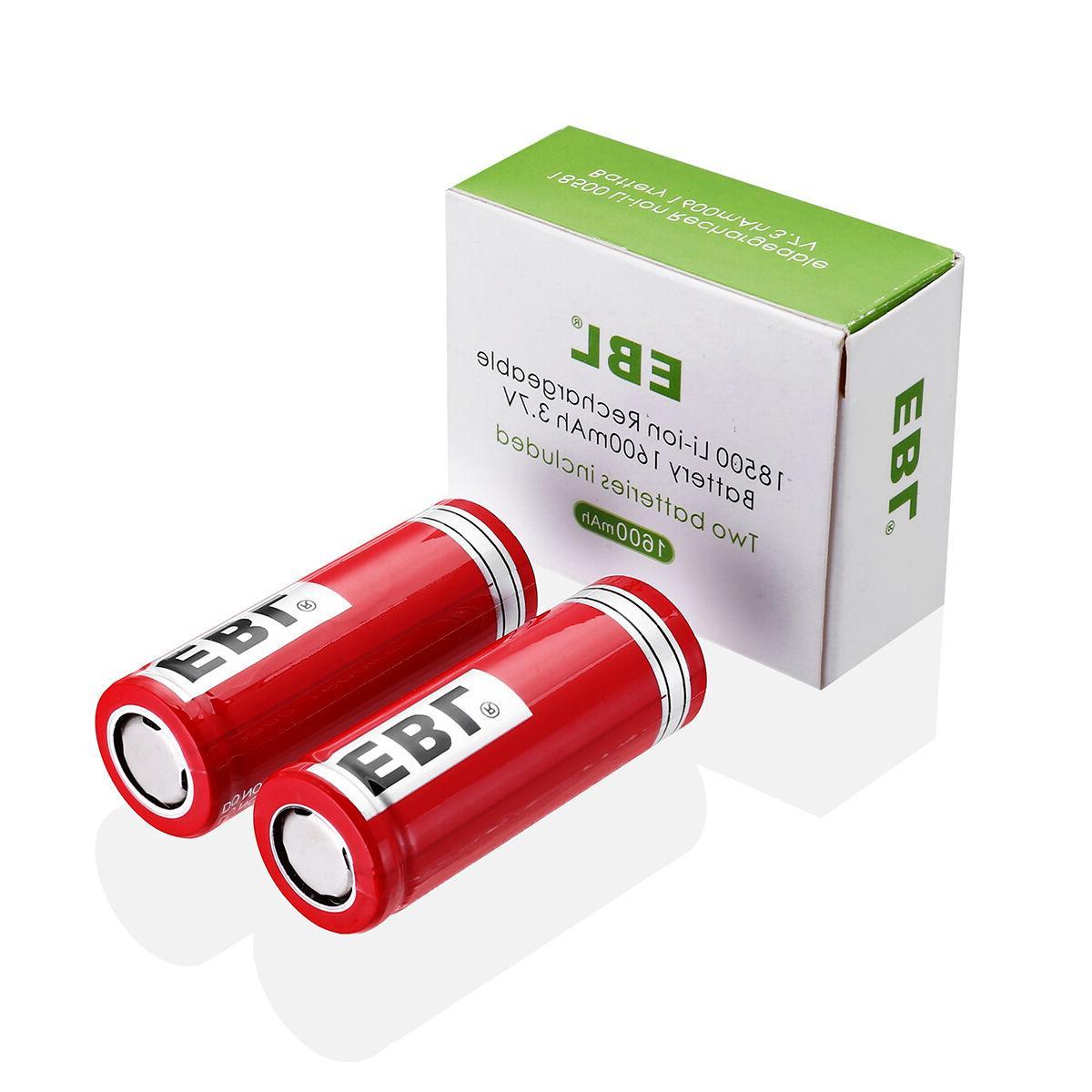 2 x EBL INR 18500 3.7V 1600mAh Battery Li-ion Lithium Rechar