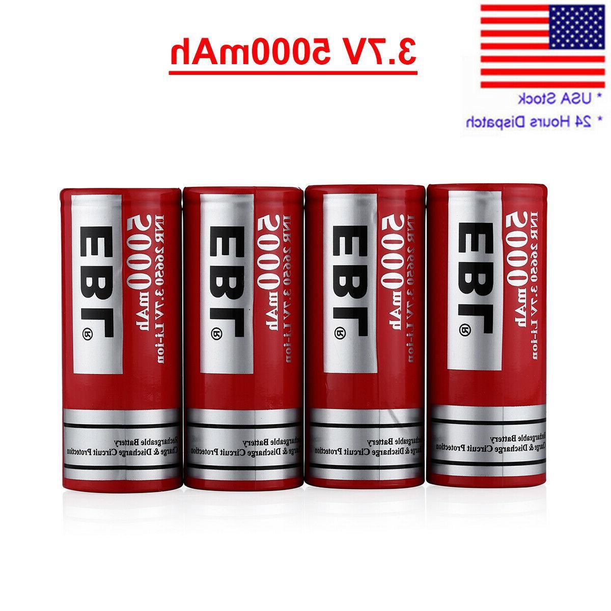 4 pcs 5000mah 26650 battery li ion