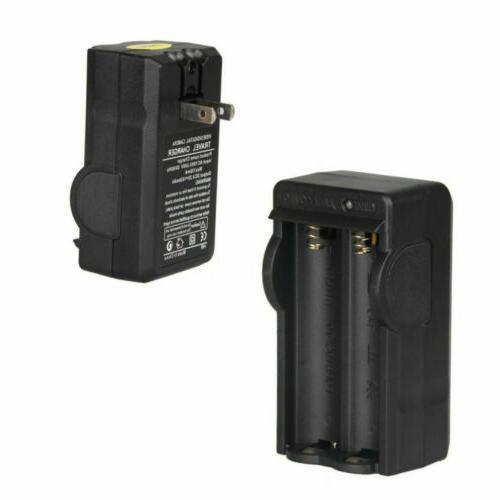 4 PCS Batteries Li-ion Battery Charger Flashlight Headlamp