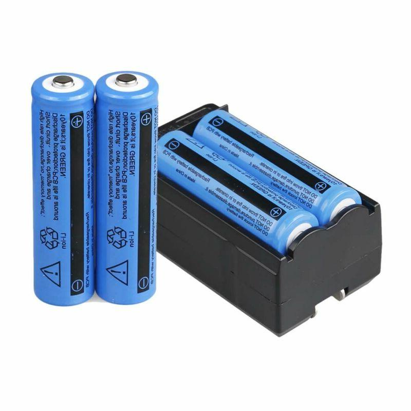 4PC 18650 Battery 3.7v Rechargeable Batteries Charger