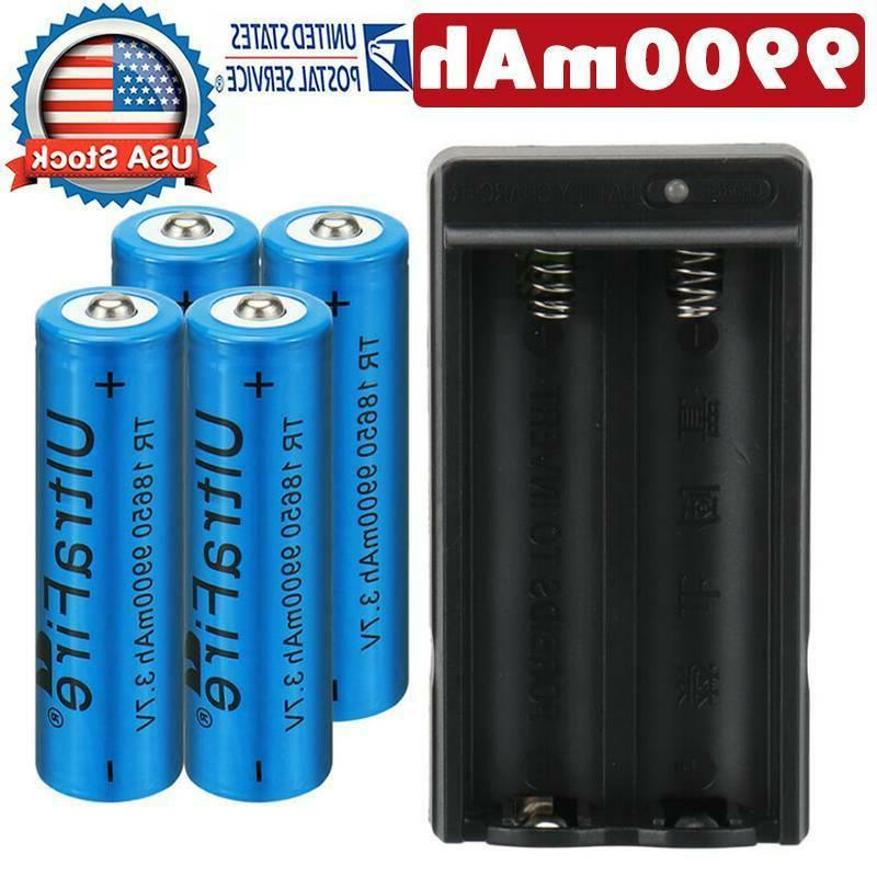 4pc 18650 9900mah battery 3 7v li