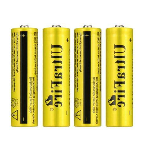 4x 18650 Battery For Torch+Charger