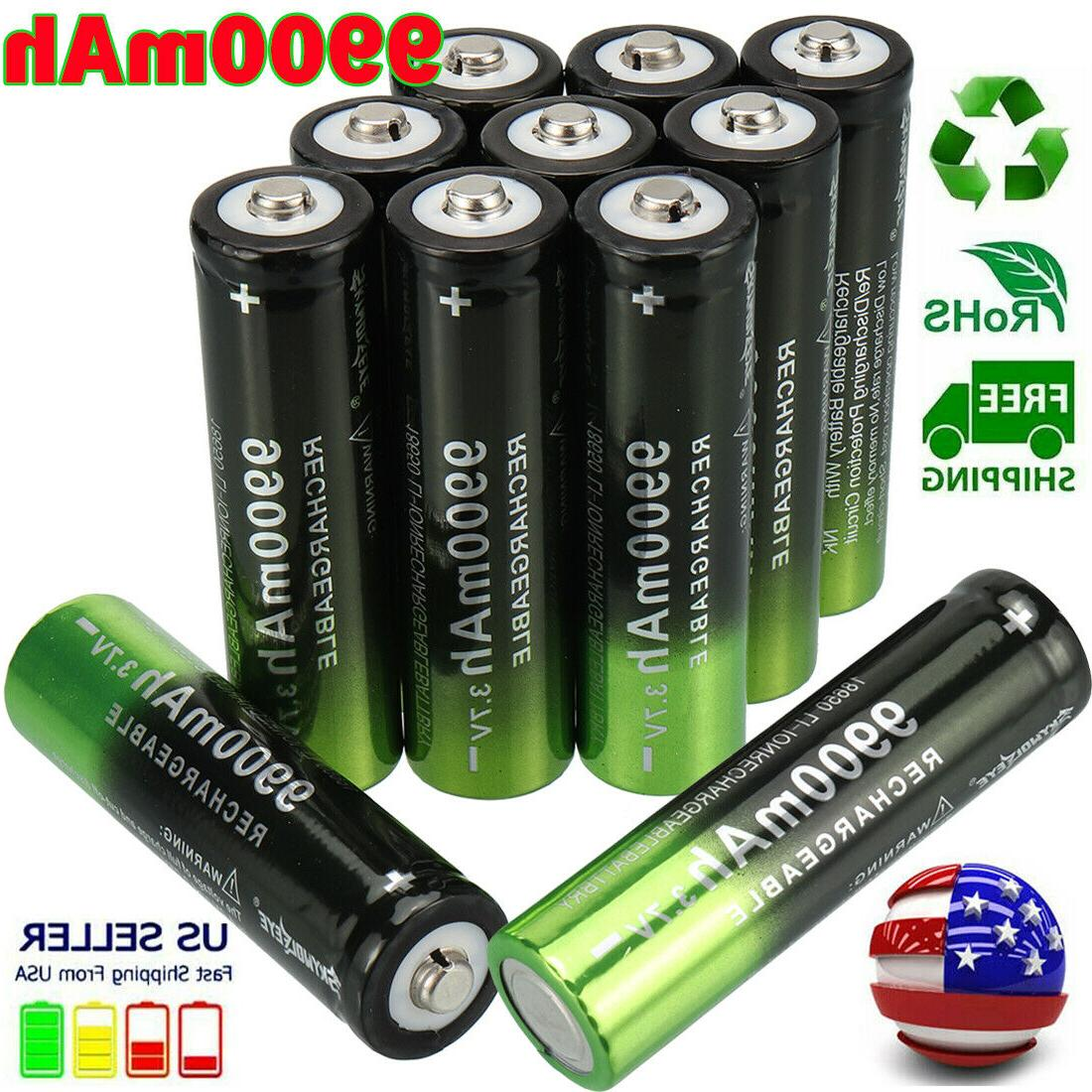 10X Rechargeable Battery 3.7V Li-Ion Batteries Cell for LED