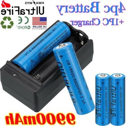 4X 18650 3.7V Lithium Battery 2X UltraFire