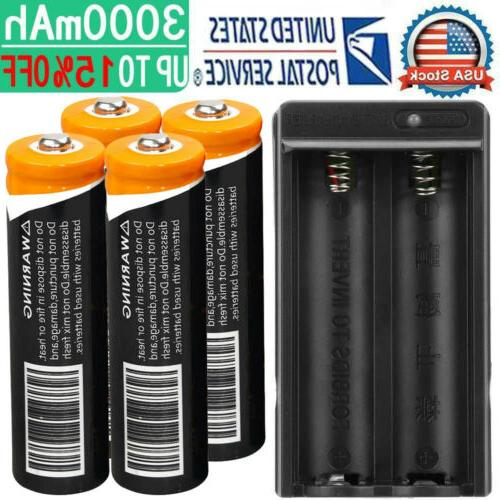 4x 18650 battery 3 7v li ion