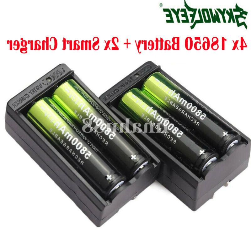 4x 18650 battery 5800mah 3 7v rechargeable